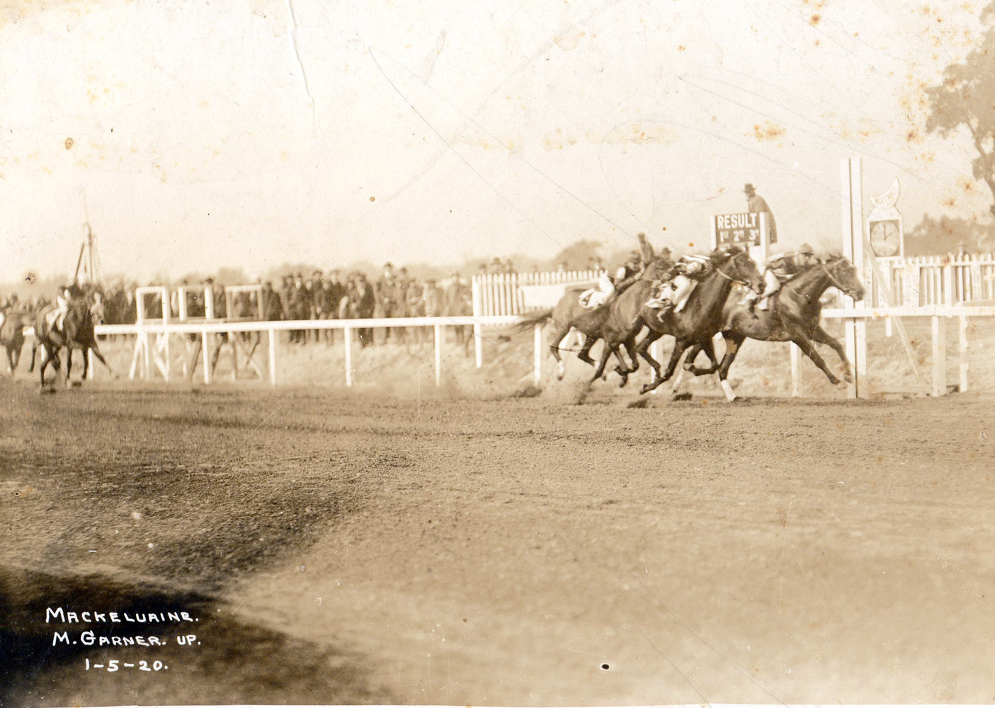 Mack Garner and Mackekvaine winning the first race at New Orleans on January 5, 1920 (Museum Collection)