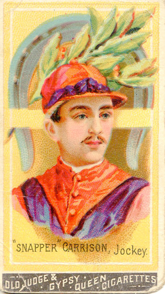 "Cigarette card for ""Snapper"" Garrison, jockey (Museum Collection)"