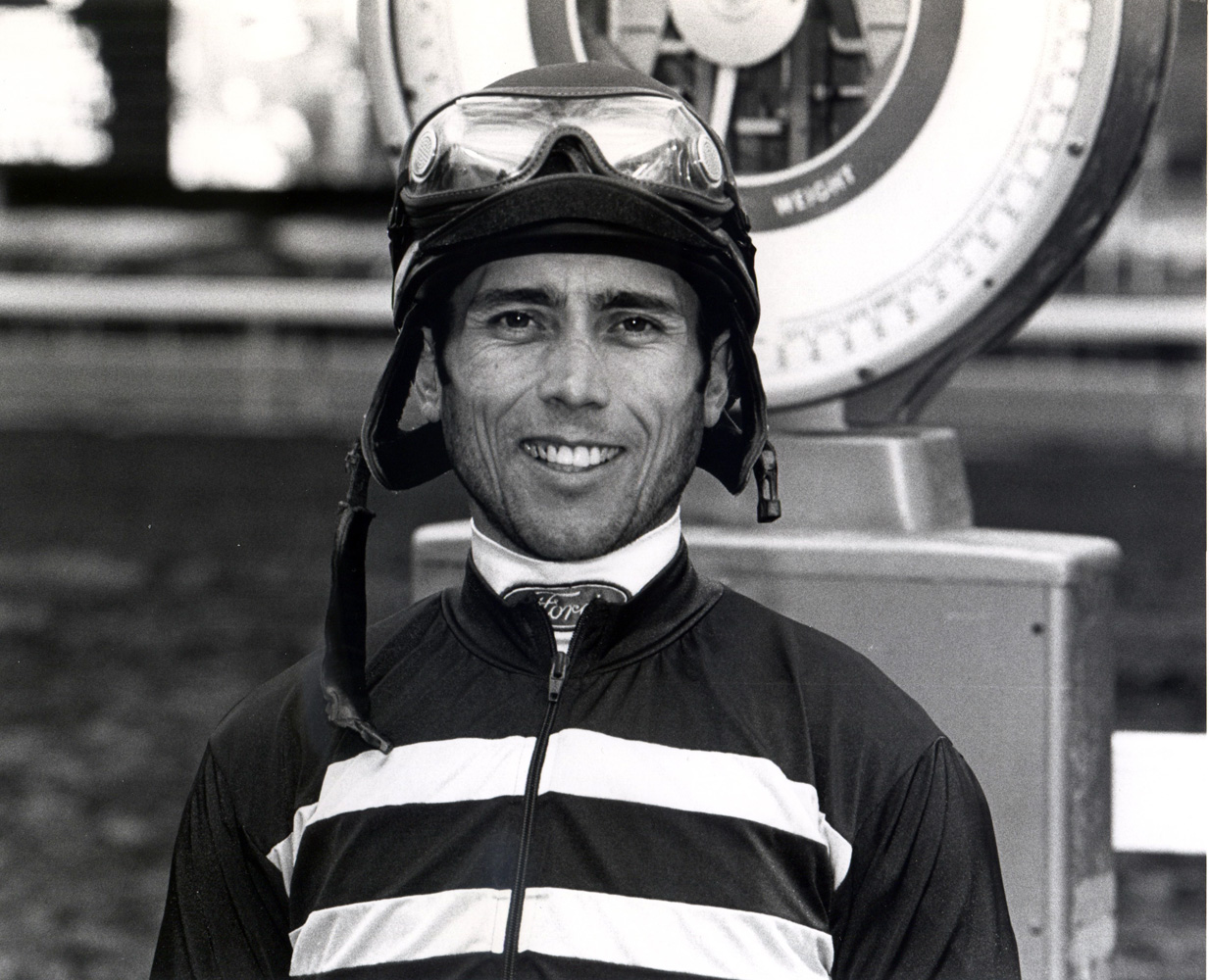 Garrett Gomez weighing in after a win at Santa Anita Park in 2005 (Bill Mochon/Museum Collection)