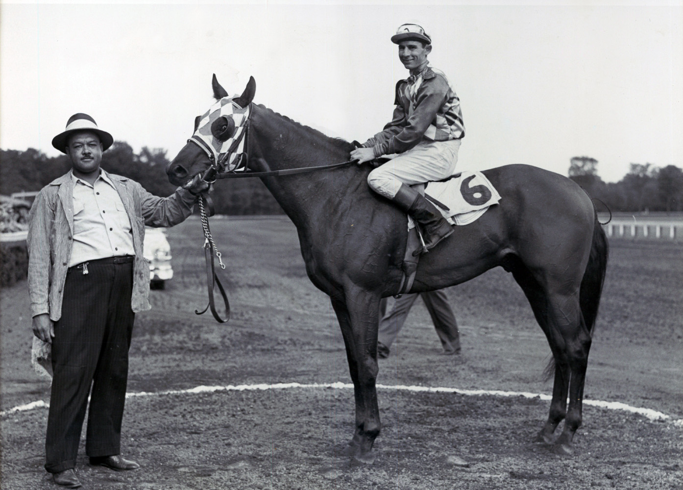 Eric Guerin and Cousin in the winner's circle after winning the 1951 Saratoga Special (Bert Morgan/Museum Collection)