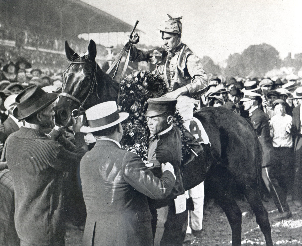 Albert Johnson and Morvich in the winner's circle for the 1922 Kentucky Derby (Churchill Downs Inc./Kinetic Corp. /Museum Collection)