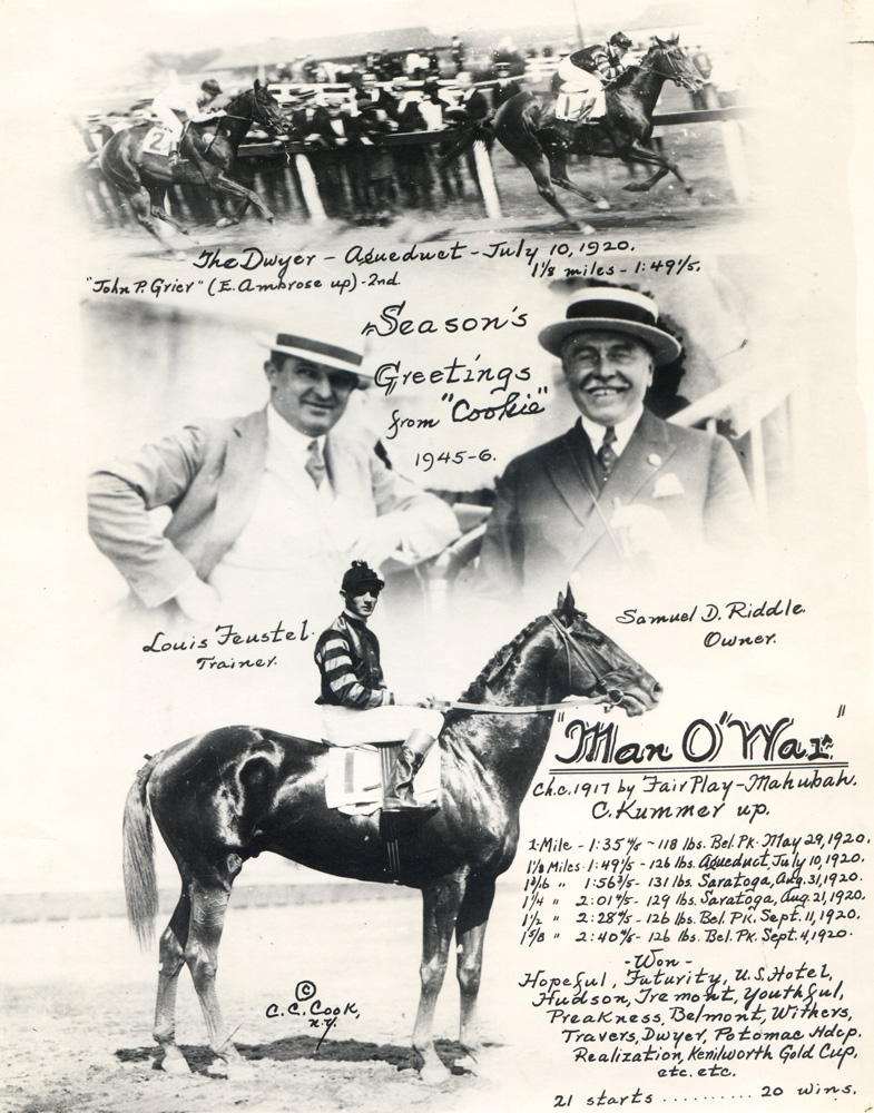 Greeting card collage created by photographer C. C. Cook celebrating Man o' War and Clarence Kummer's victory in the 1920 Dwyer (C. C. Cook/Museum Collection)