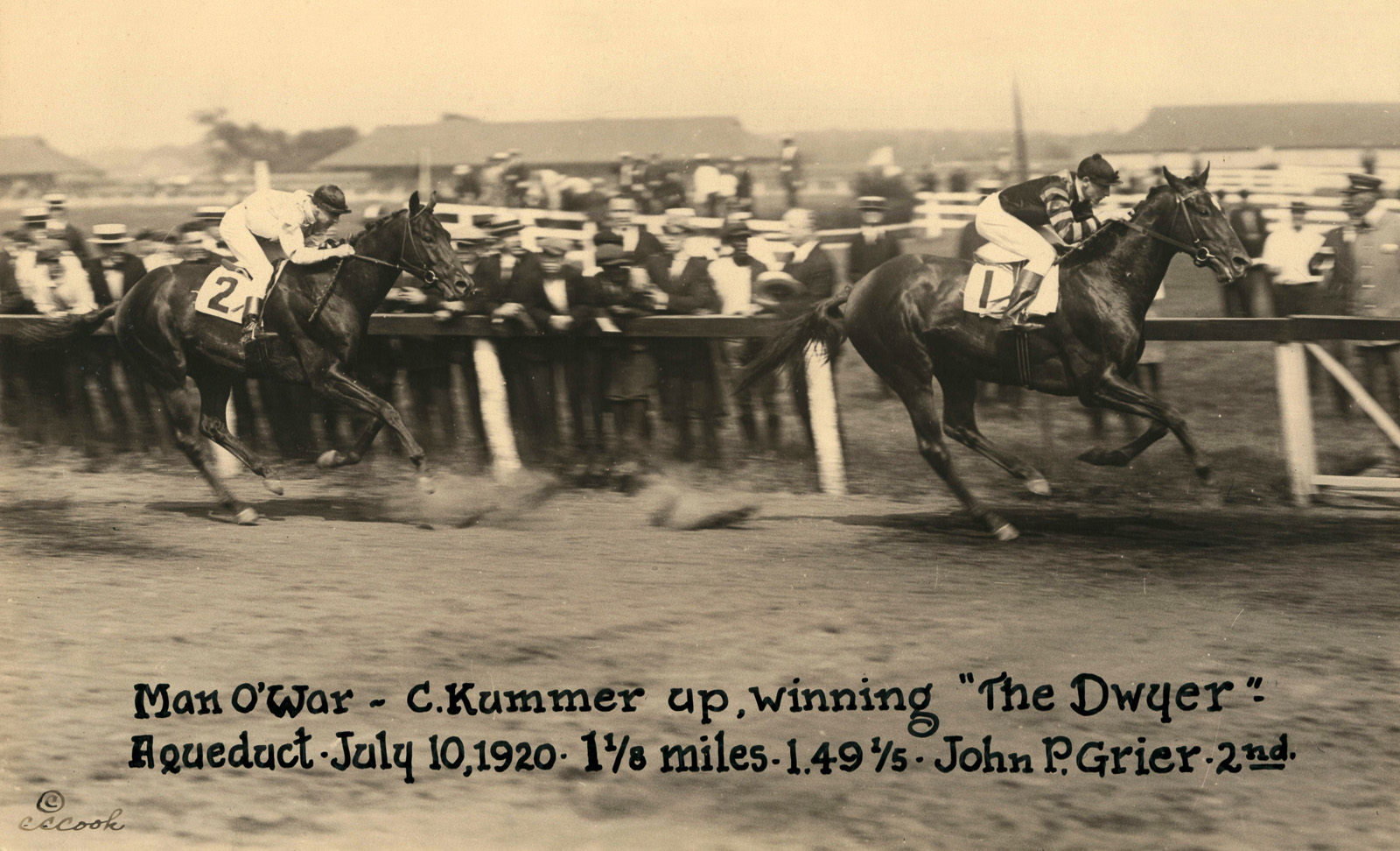 Clarence Kummer and Man o' War winning the 1920 Dwyer Stakes at Aqueduct (C. C. Cook/Museum Collection)