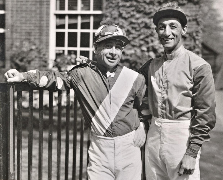Johnny Longden and Eddie Arcaro in 1955 (Keeneland Library Morgan Collection)