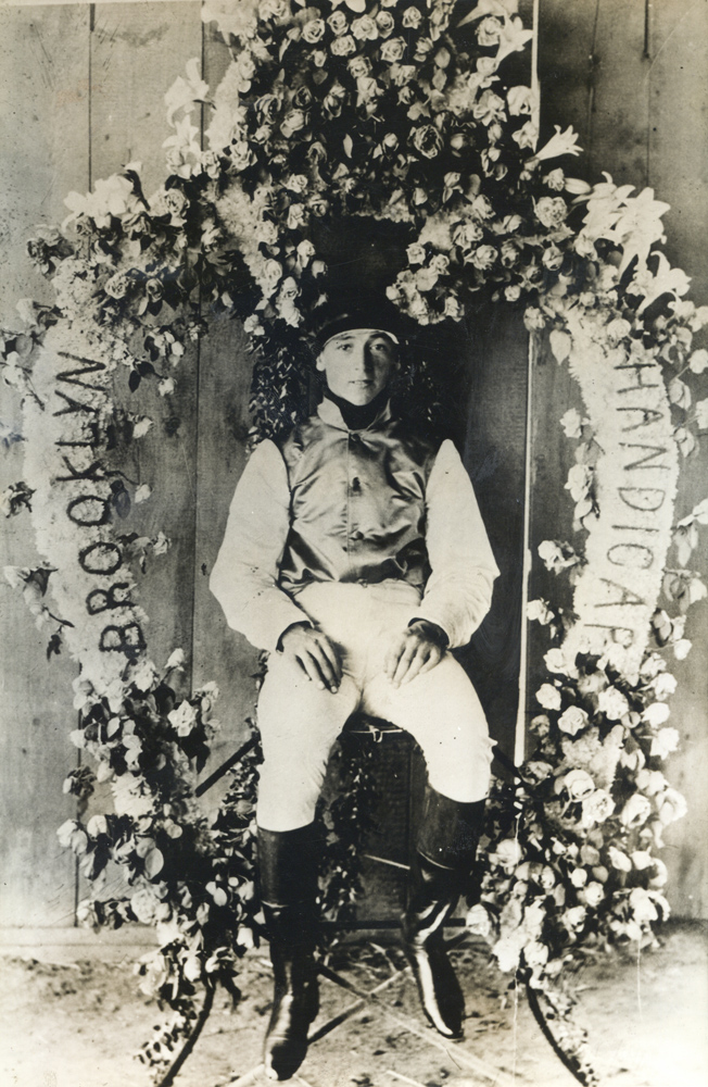 Daniel Maher after winning the 1899 Brooklyn Handicap with Banastar (Museum Collection)