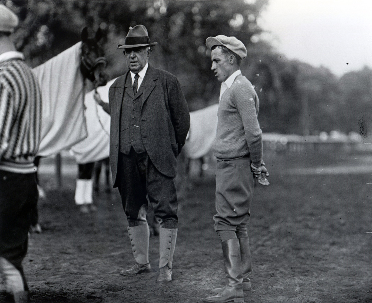 Trainer Andrew Jack Joyner and jockey J. Linus McAtee in the paddock (Keeneland Library Cook Collection)
