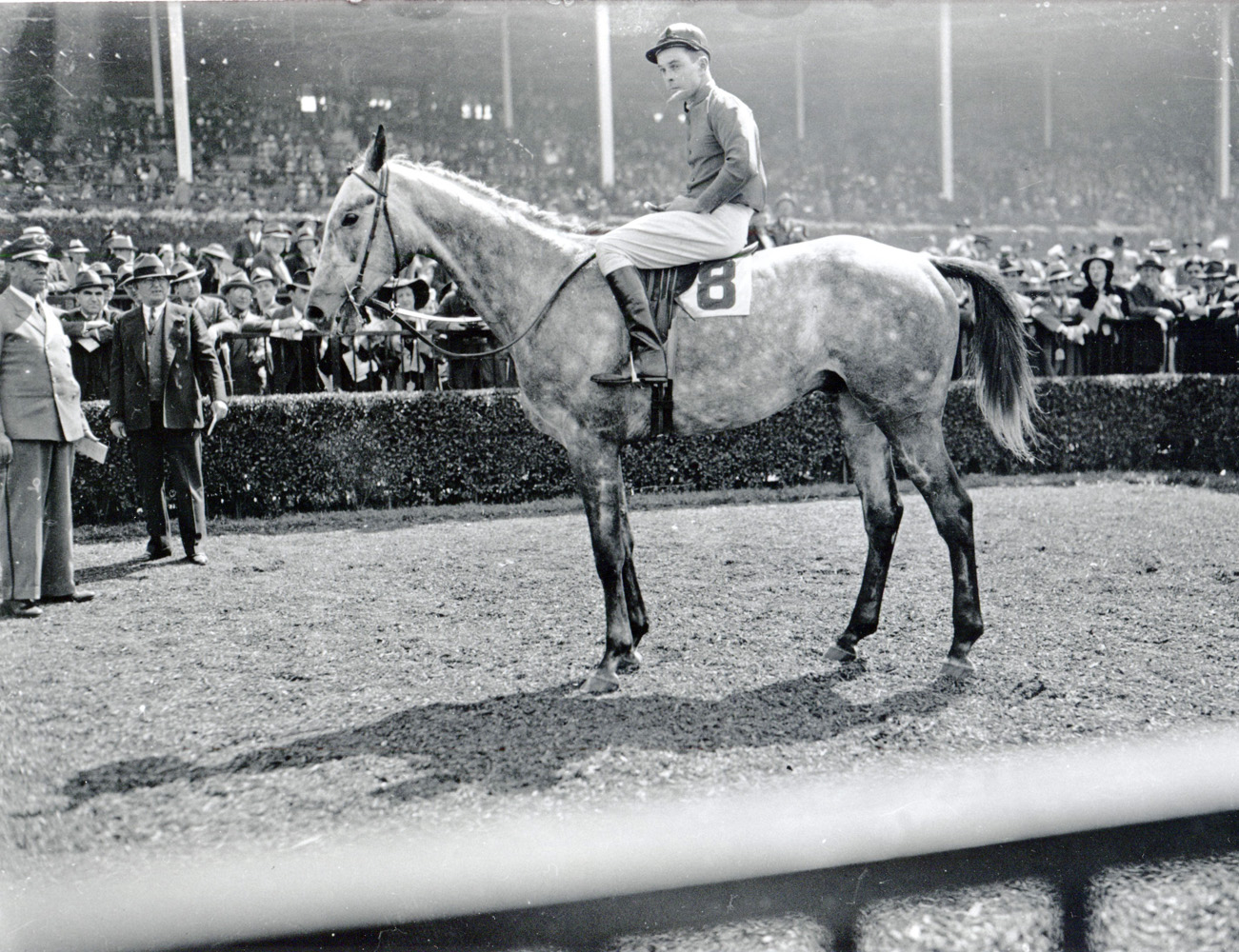 Rigan McKinney and Annibal after winning the 1938 Corinthian Steeplechase at Belmont Park (Keeneland Library Cook Collection/Museum Collection)