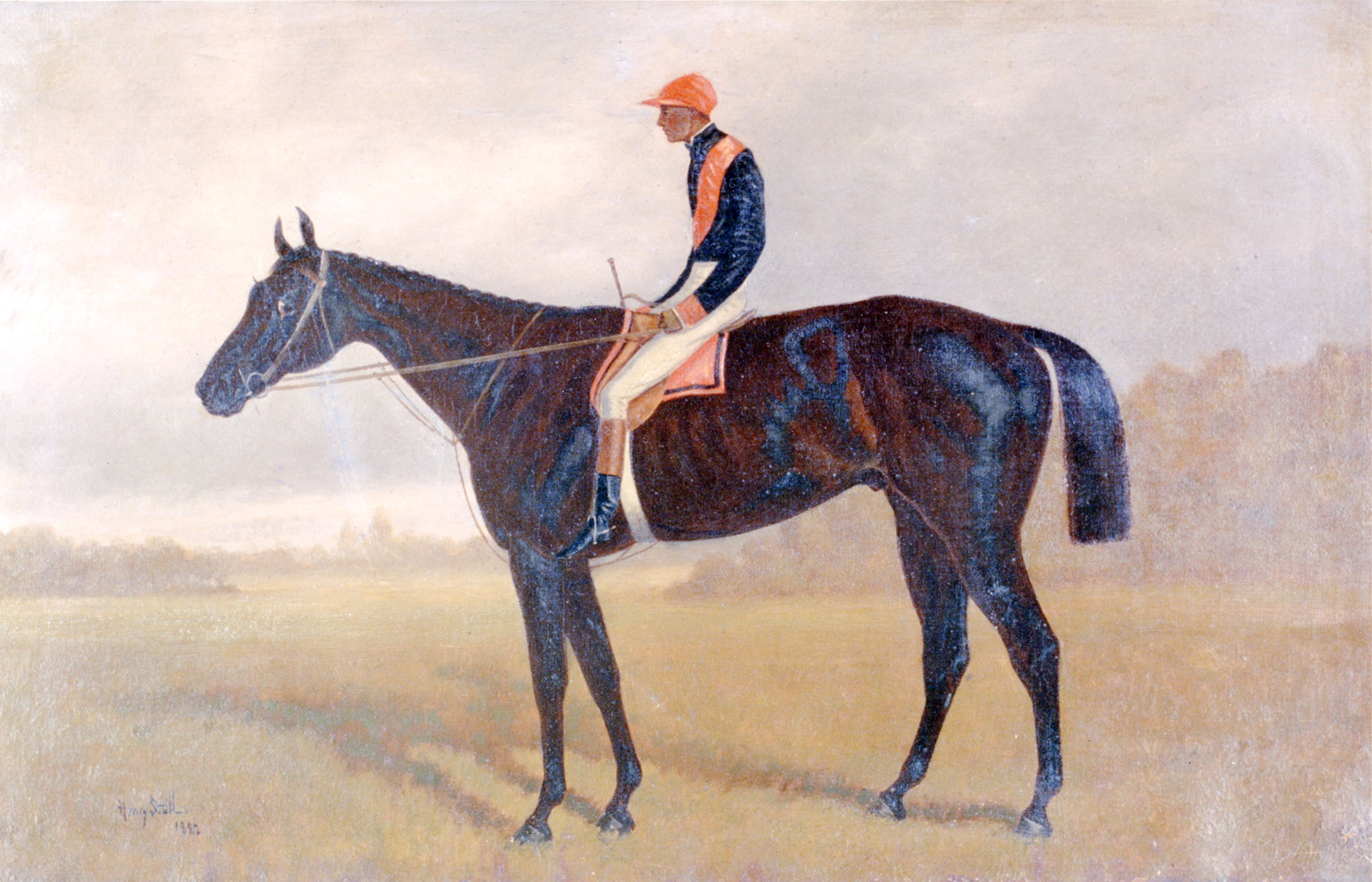 Photo reproduction of a Henry Stull painting depicting Checkmate with Isaac Murphy up (Museum Collection)