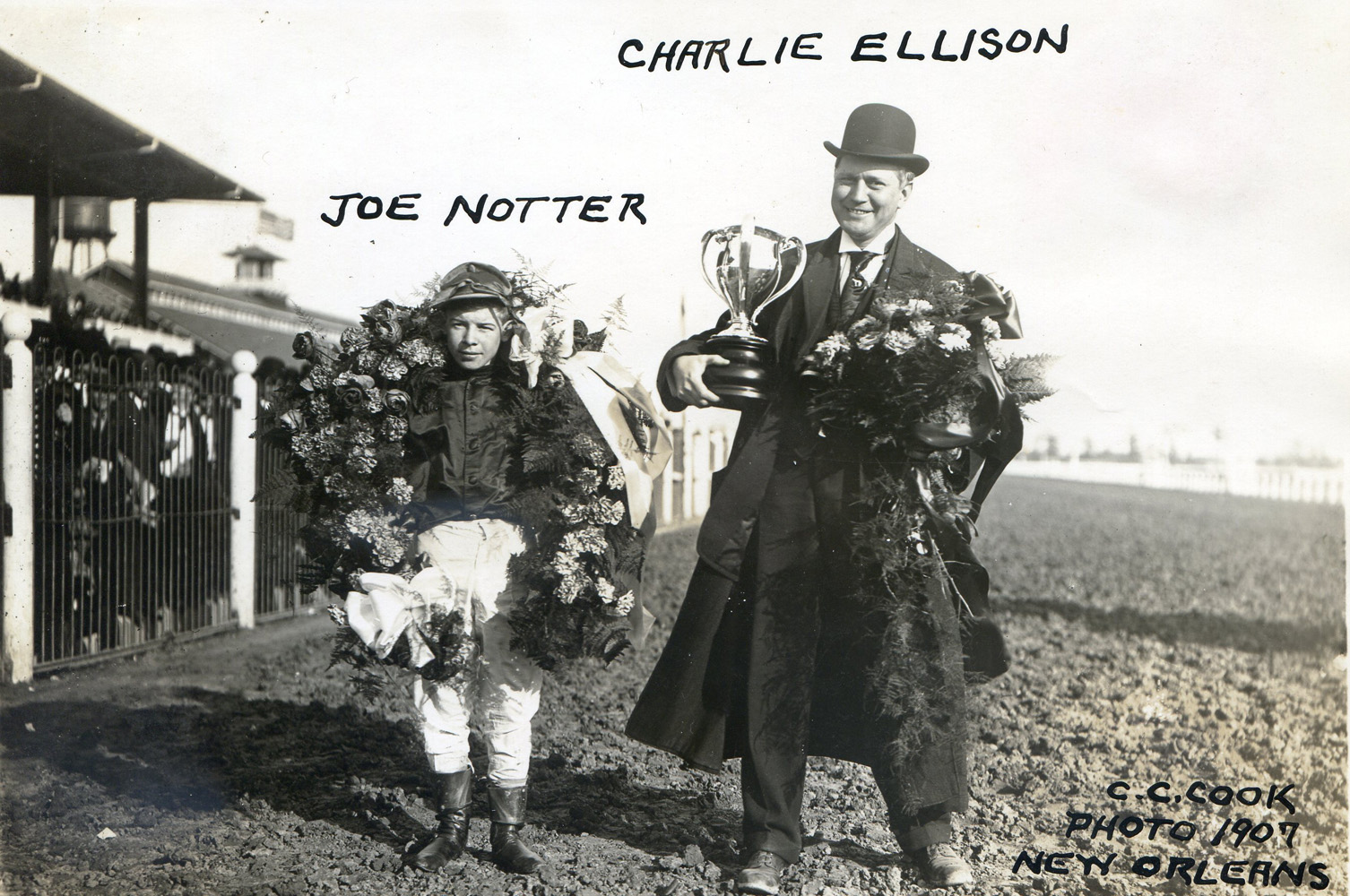 Joe Notter and Charlie Ellison after winning a race in New Orleans in 1907 (C. C. Cook/Museum Collection)