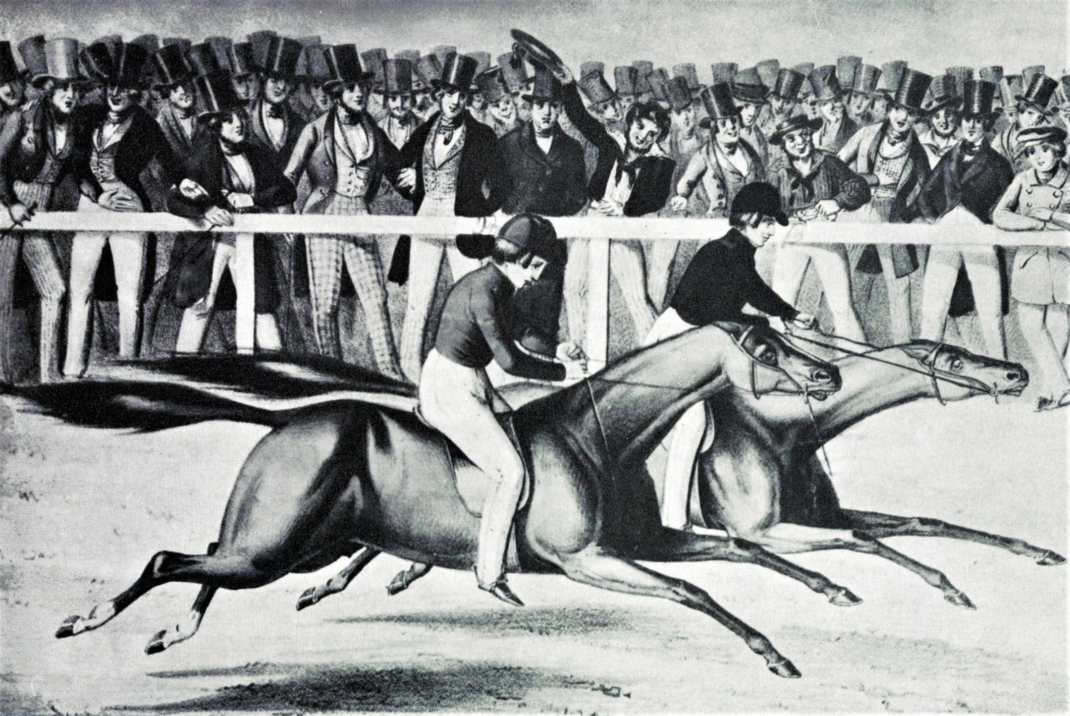 "An illustration from Hervey's ""Racing in America"" depicting Gilbert W. Patrick (Gilpatrick) and Boston defeating Fashion at the Union Course match race on May 10, 1842 (Keeneland Library Collection/Museum Collection)"