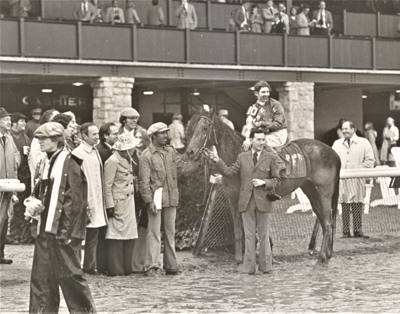 Craig Perret and Optimistic Gal in the winner's circle fro the 1976 Spinster (Keeneland Association)