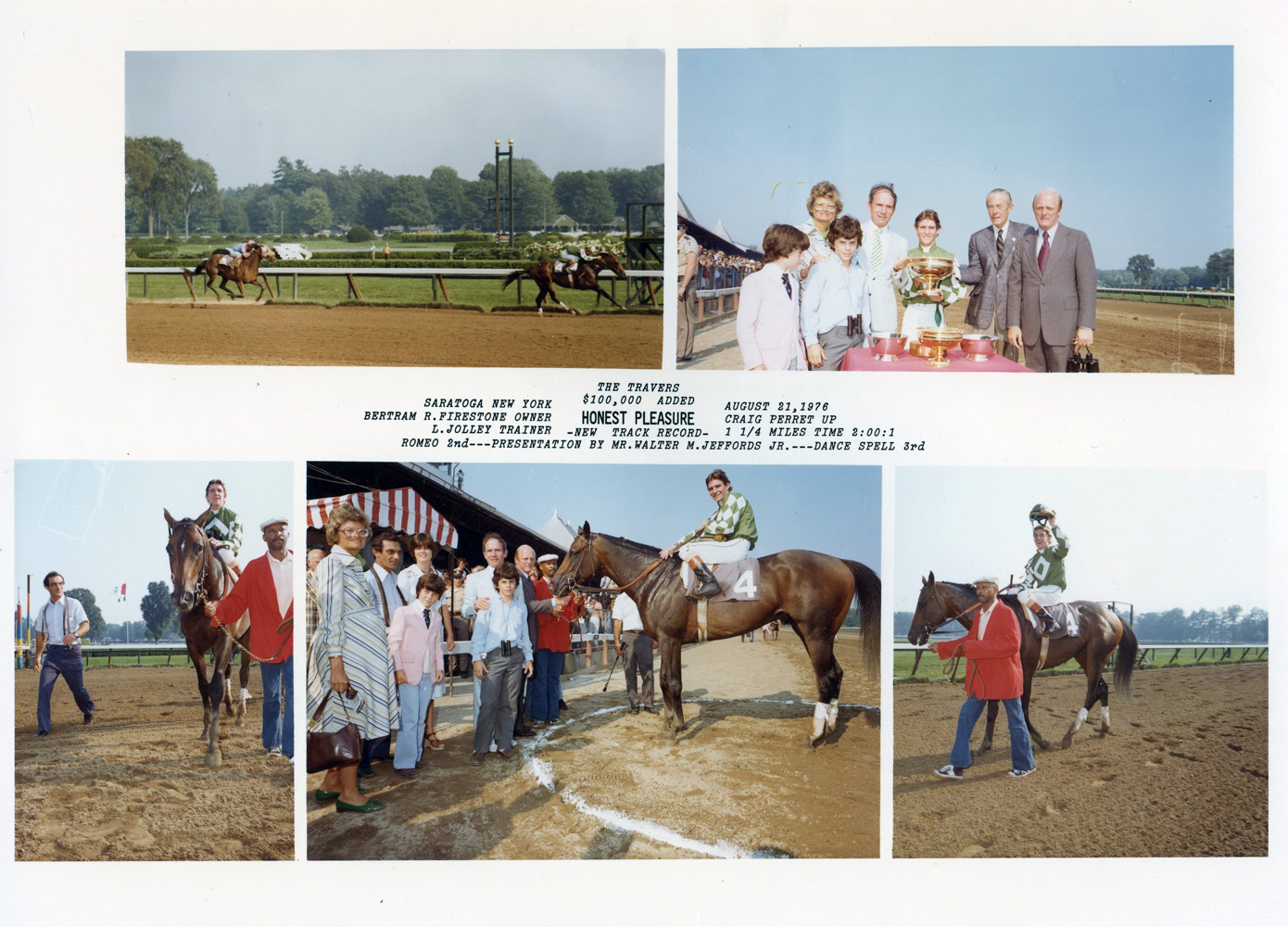 Win composite from the 1976 Travers Stakes at Saratoga, won by Craig Perret and Honest Pleasure (Bob Coglianese/NYRA /Museum Collection)
