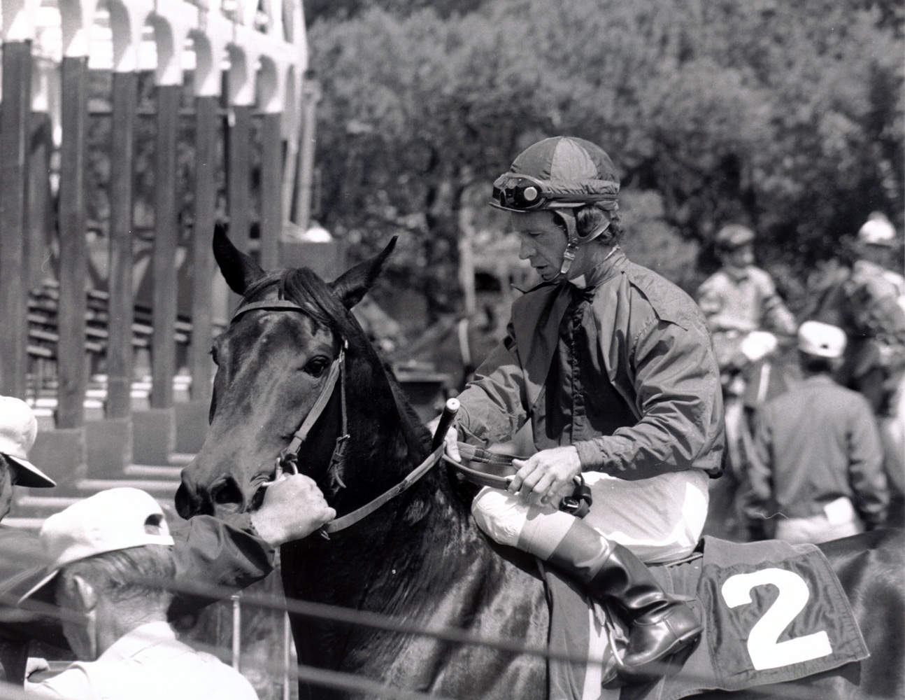 Don Pierce at the starting gate at Santa Anita, April 1973 (Bill Mochon/Museum Collection)