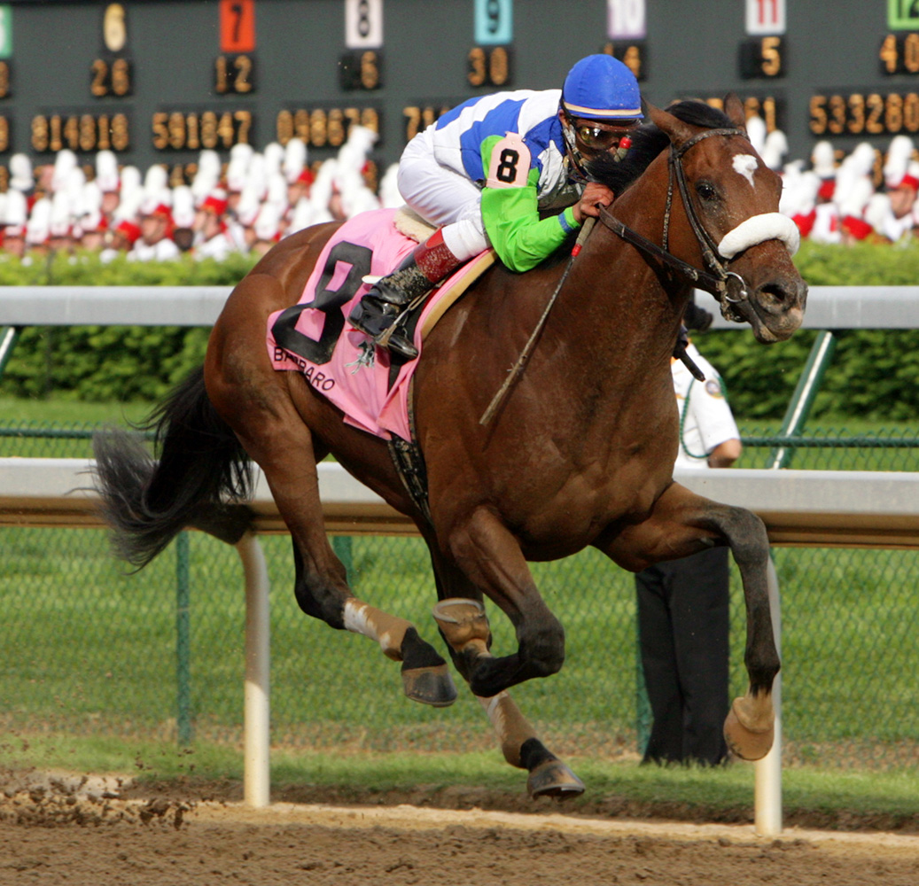 Edgar Prado and Barbaro winning the 2006 Kentucky Derby (Barbara D. Livingston/Museum Collection)