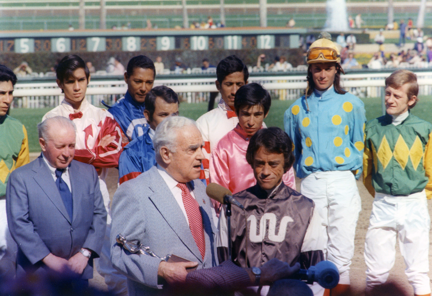 John Rotz receiving the 1973 George Woolf Memorial Award at Santa Anita (Bill Mochon/Museum Collection)