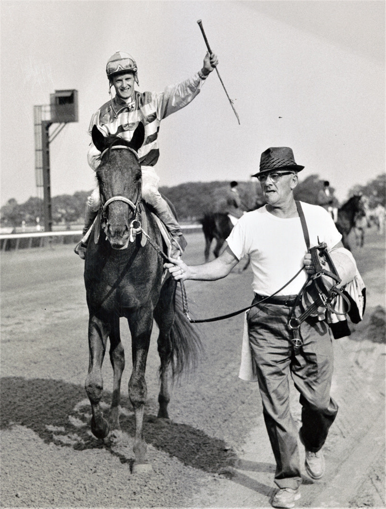 John Sellers and Carry Back after winning the 1961 Jerome Handicap at Belmont Park (Keeneland Library Morgan Collection)