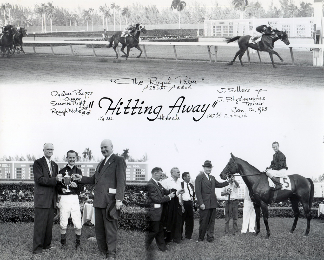 Win composite from the 1963 Royal Palm Handicap at Hialaeh, won by John Sellers and Hitting Away (Jim Raftery Turfotos/Museum Collection)