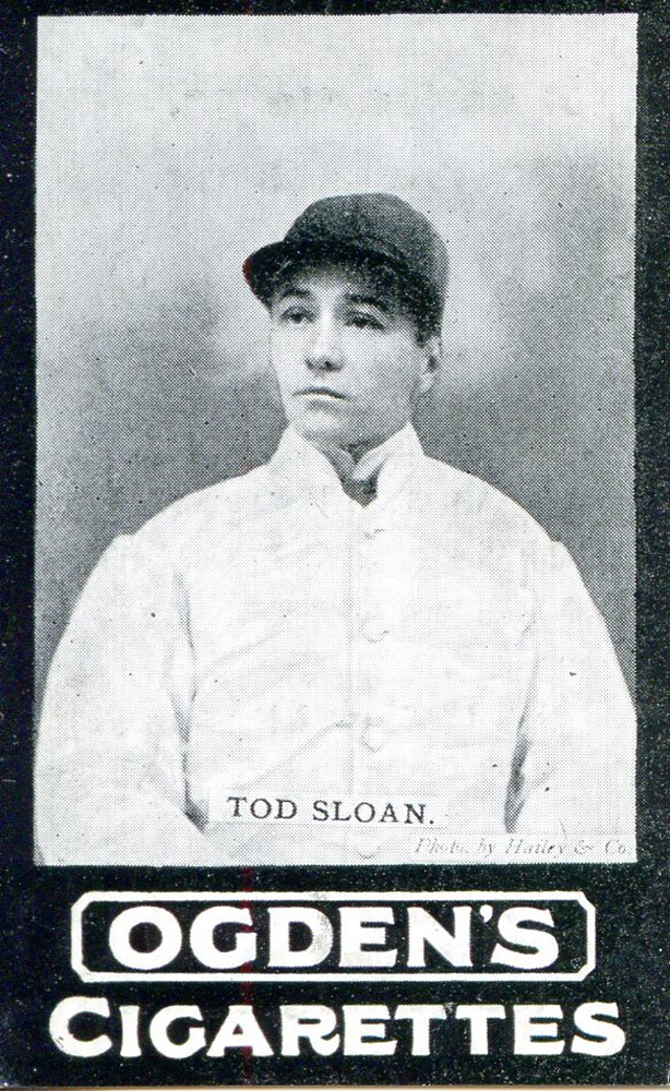 Cigarette card for Tod Sloan, featuring a photo by Hailey & Co. (Museum Collection)