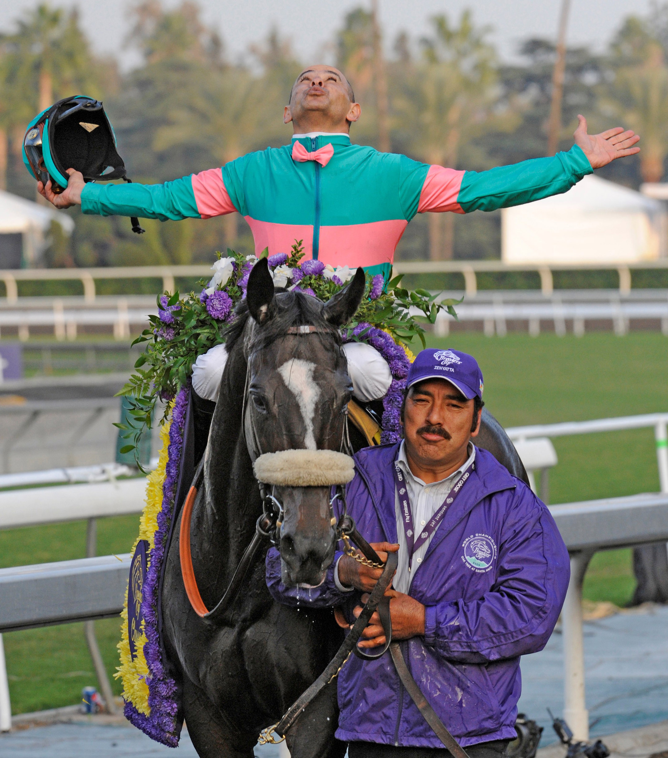 Mike Smith and Zenyatta after winning the 2009 Breeders' Cup Classic at Santa Anita (Skip Dickstein)