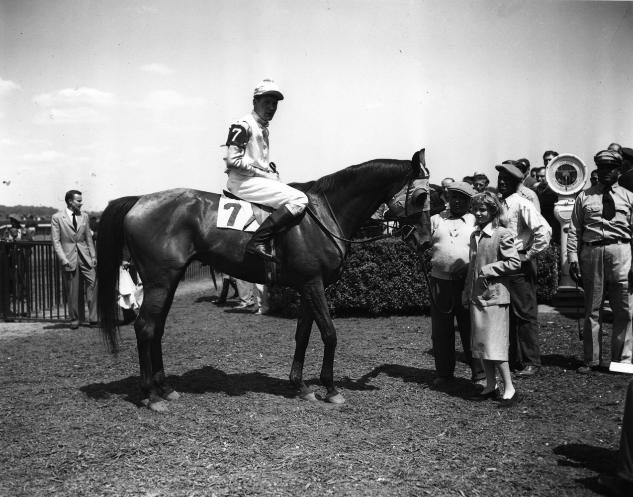 Alfred P. Smithwick and Elkridge in the winner's circle for the 1949 Meadow Brook Handicap Steeplechase at Belmont (Keeneland Library Morgan Collection/Museum Collection)