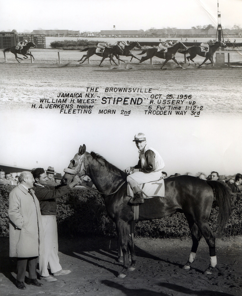 Win composite from a race at Jamaica, October 1956, won by Bobby Ussery and Stipend (NYRA)
