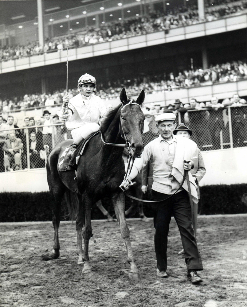 Milo Valenzuela and Kelso after winning the 1962 Woodward at Aqueduct (Museum Collection)