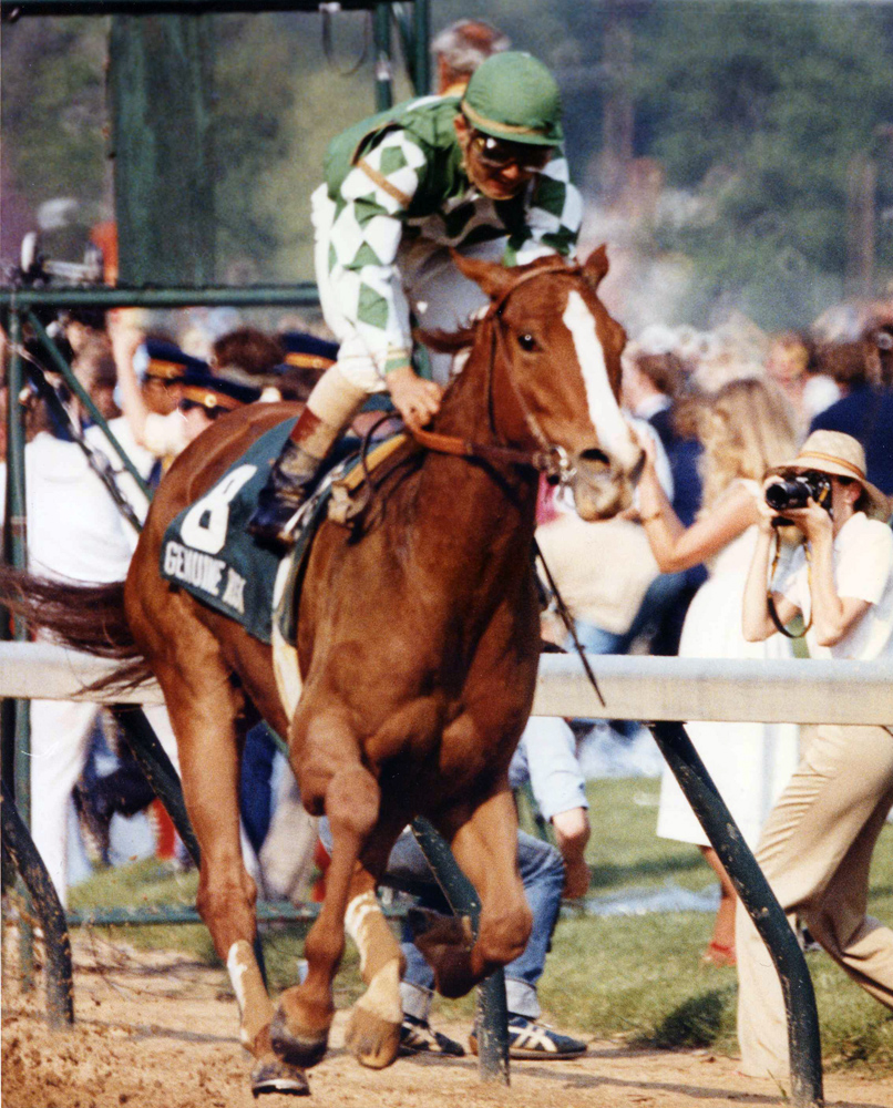 Jacinto Vasquez and Genuine Risk winning the 1980 Kentucky Derby (Churchill Downs Inc./Kinetic Corp. /Museum Collection)