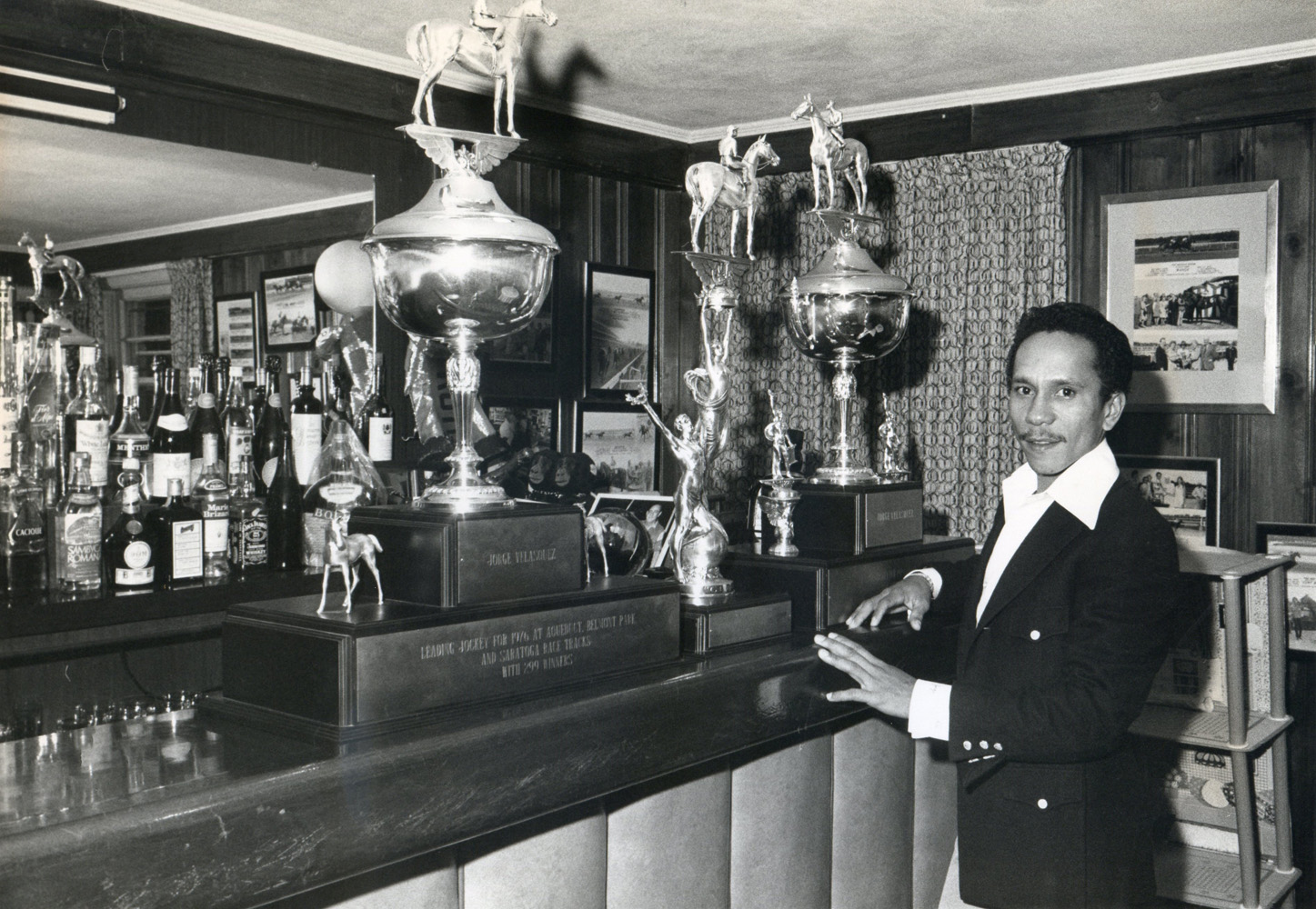 Jorge Velasquez at home with his trophies and awards (Museum Collection)