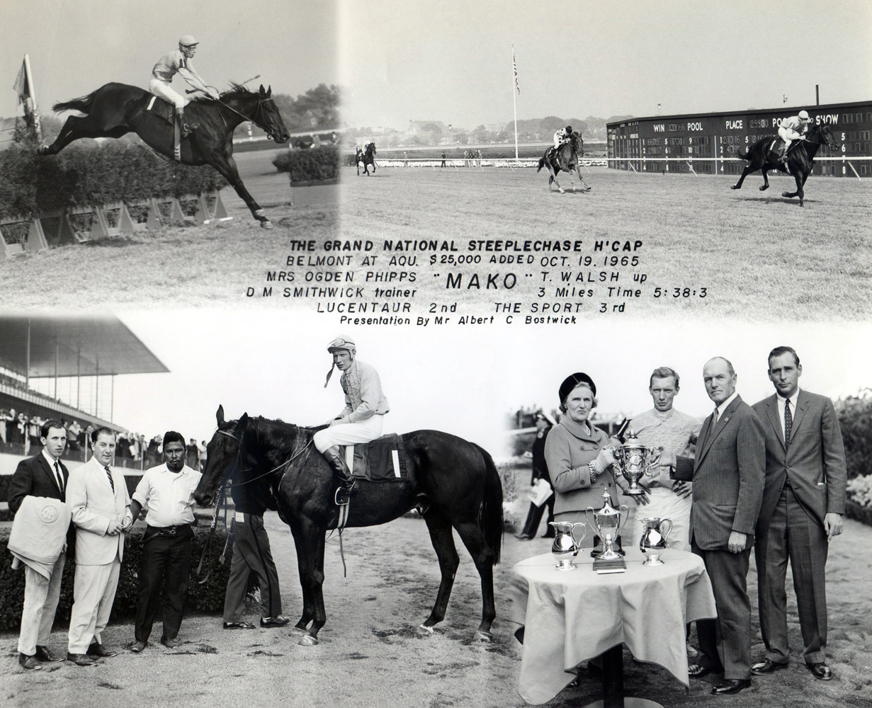 Win composite from the 1965 Grand National Steeplechase Handicap at Aqueduct, won by Tommy Walsh and Mako (NYRA/Museum Collection)