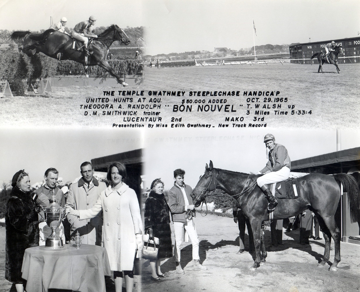 Win composite from the 1965 Temple Gwathmey Steeplechase Handicap at Aqueduct, won by Tommy Walsh and Bon Nouvel (NYRA/Museum Collection)