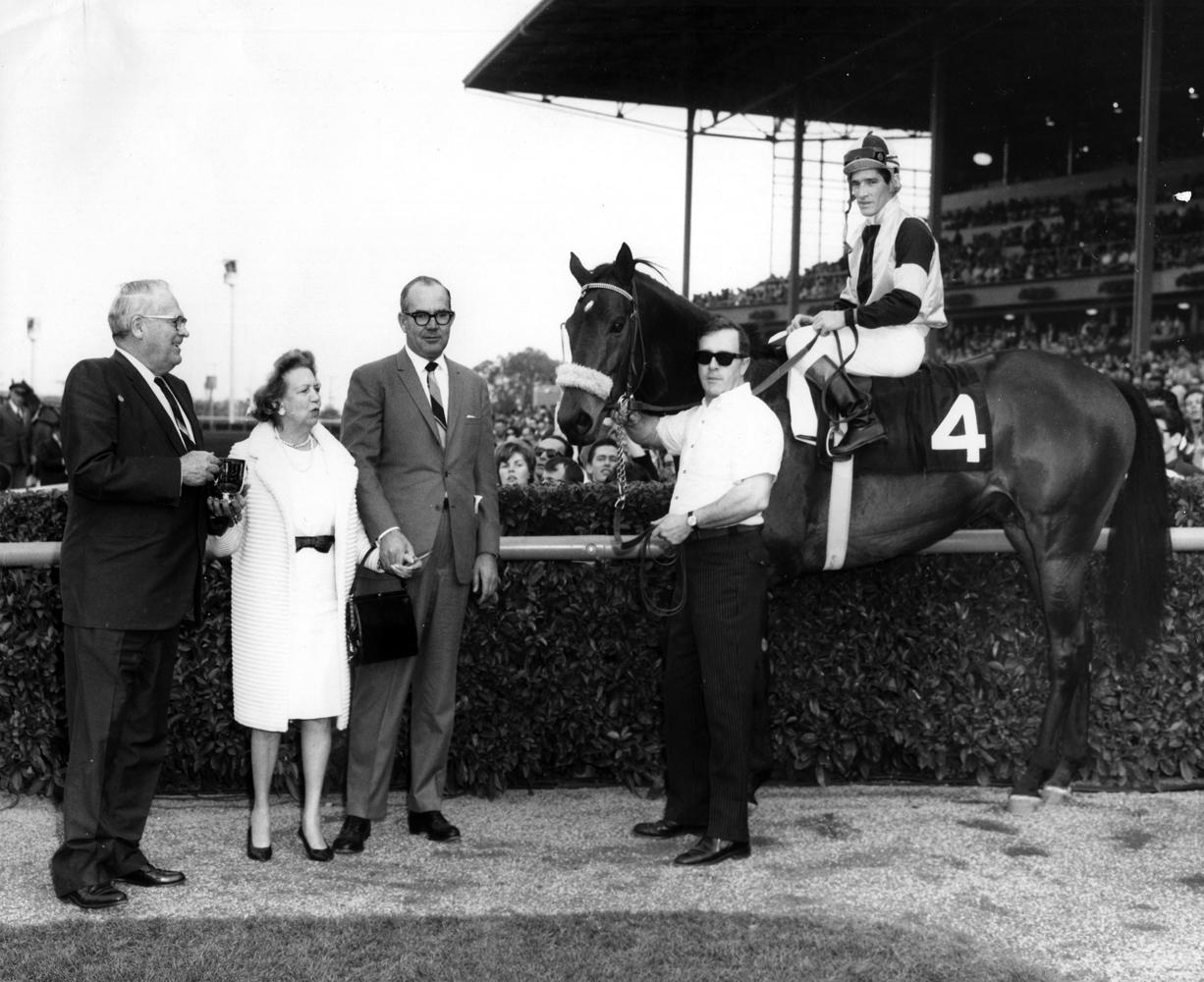 Manny Ycaza and Gun Bow in the winner's circle for the 1965 San Antonio Handicap at Santa Anita (Santa Anita Photo/Museum Collection)