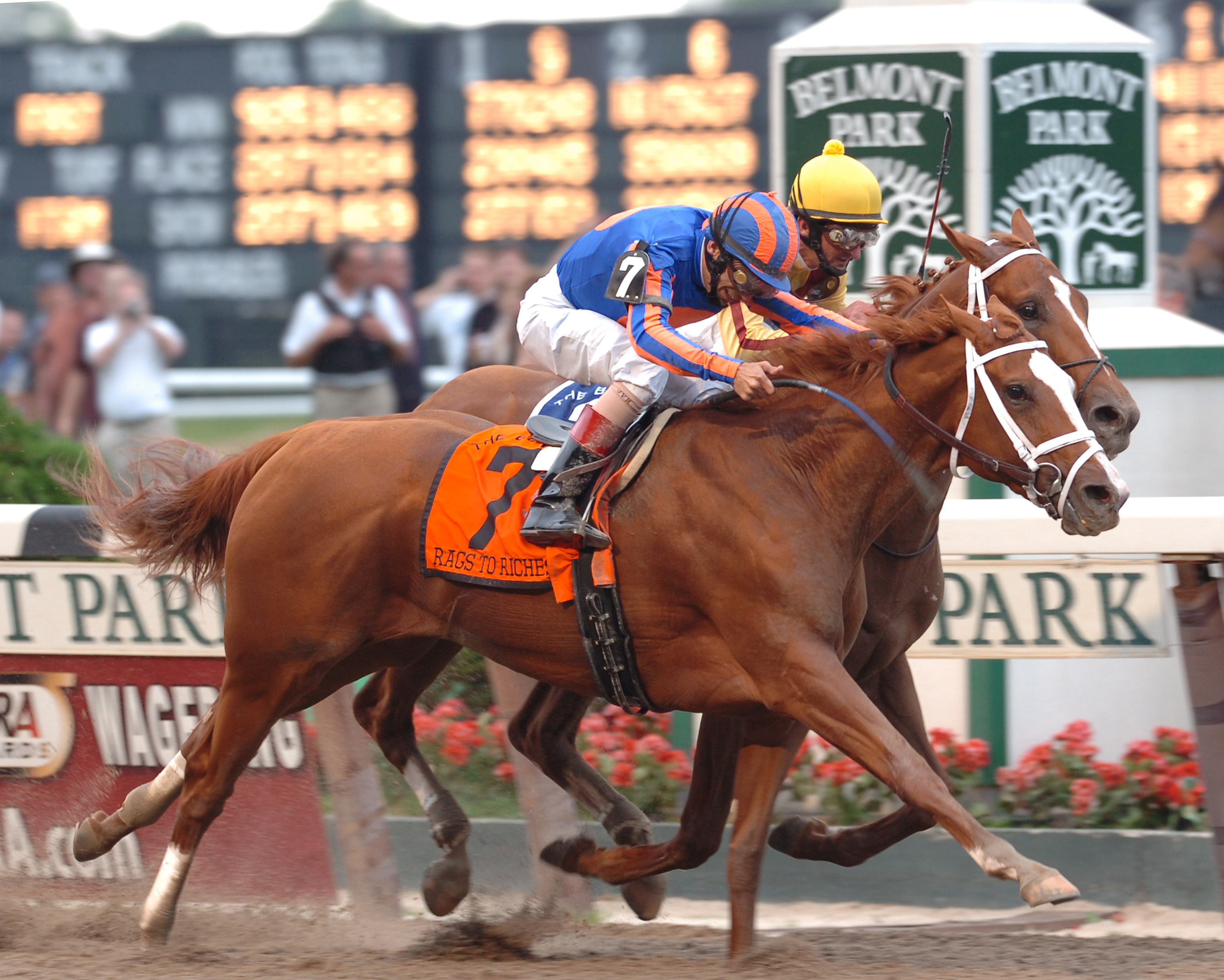 Rags to Riches, John Velazquez up, wins the 2007 Belmont Stakes (NYRA)
