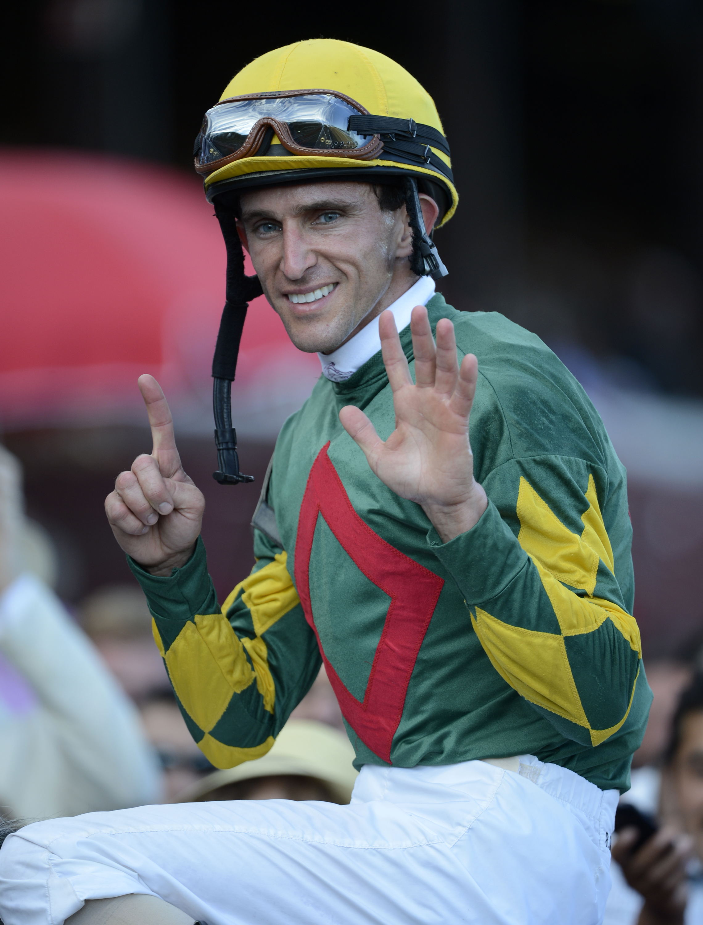 Ramon Dominguez after winning his sixth race of the day at Saratoga Race Course, Sept. 2, 2012 (Skip Dickstein)