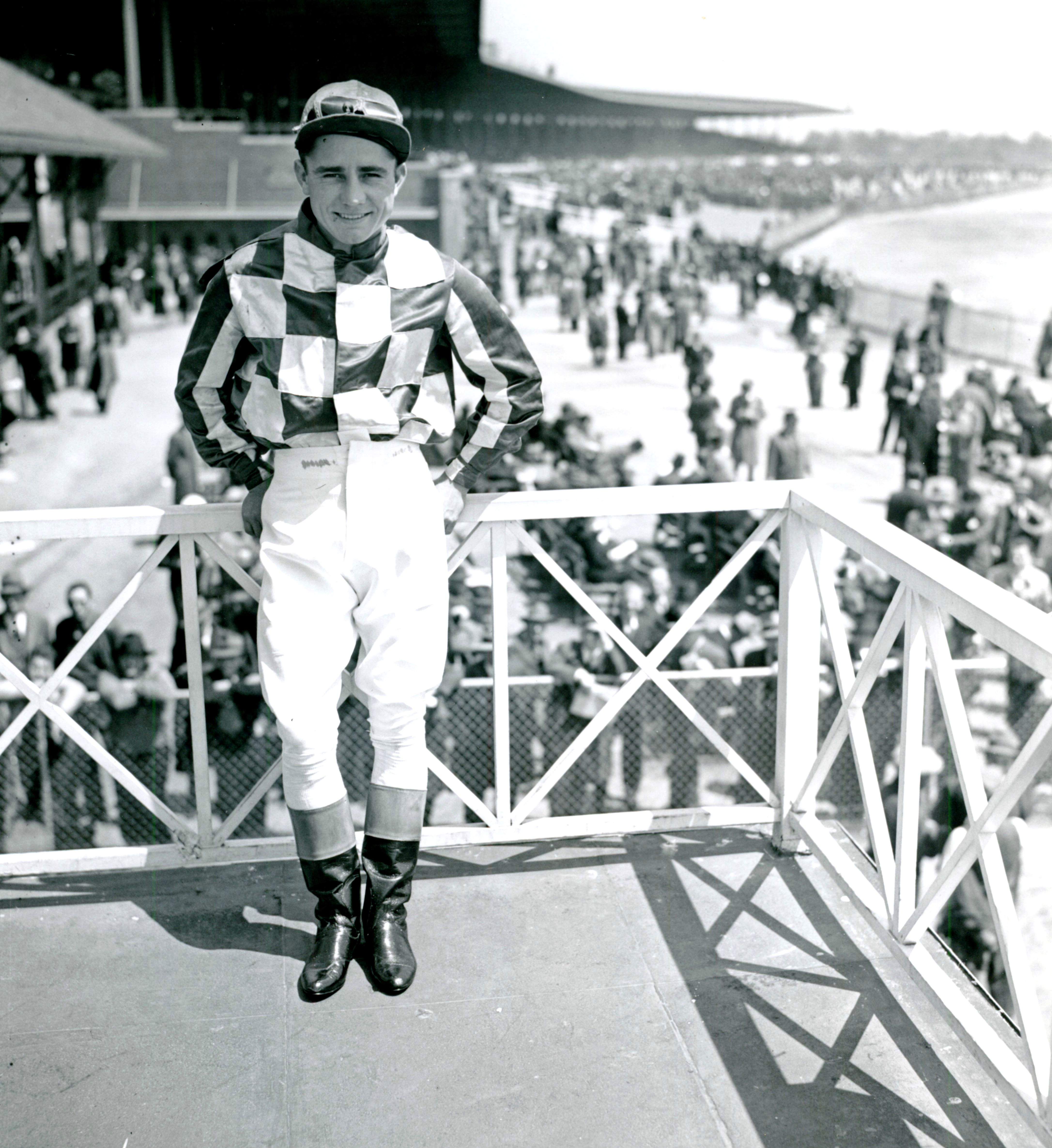 Steve Brooks at Jamaica Racetrack, April 1944 (Keeneland Library Morgan Collection/Museum Collection)
