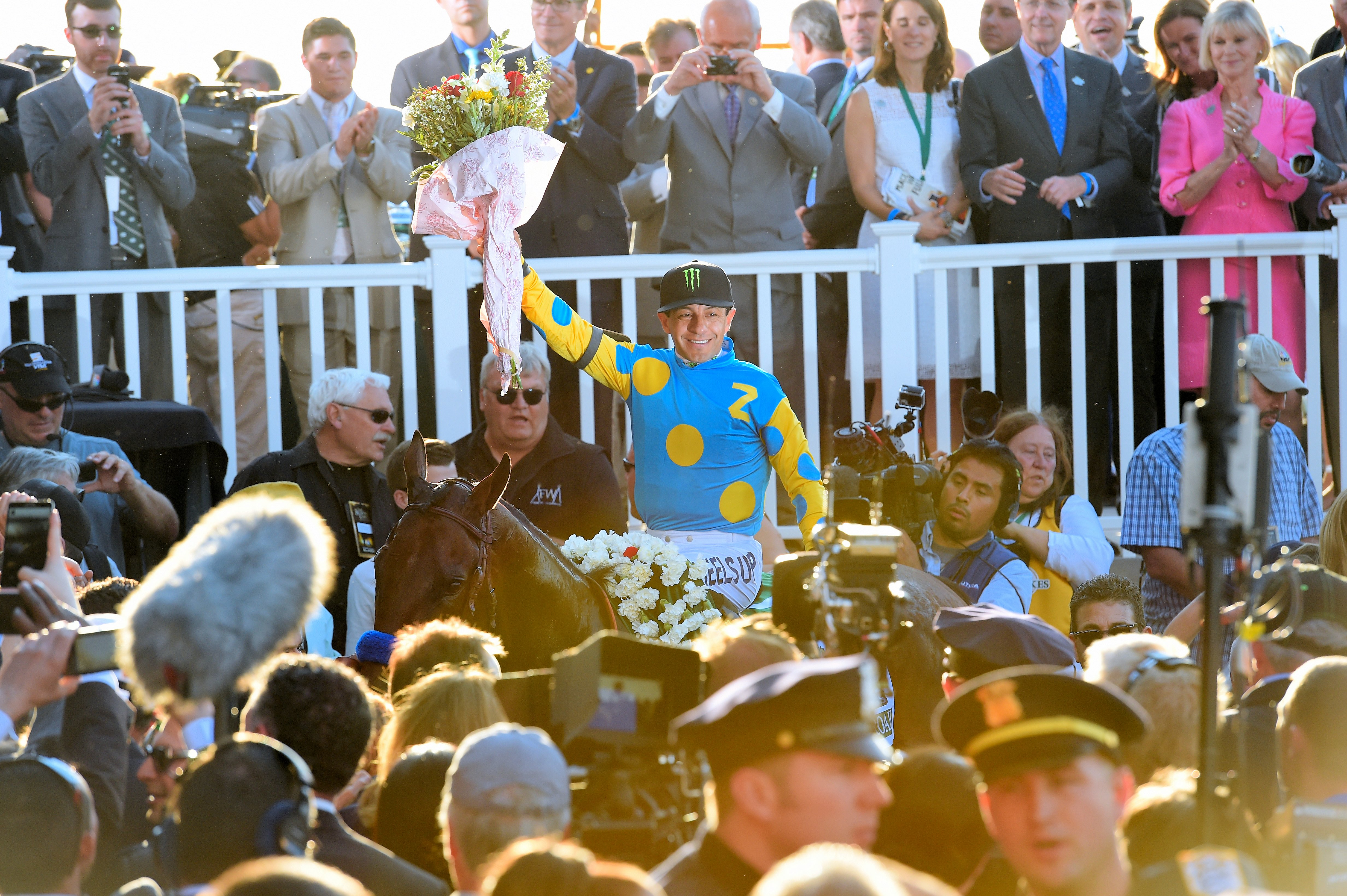Victor Espinoza after winning the 2015 Belmont Stakes with American Pharoah (NYRA)