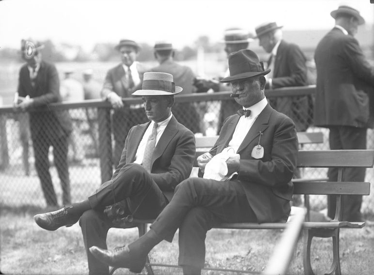 Vincent Powers and trainer James Rowe, Sr. (Keeneland Library Cook Collection)