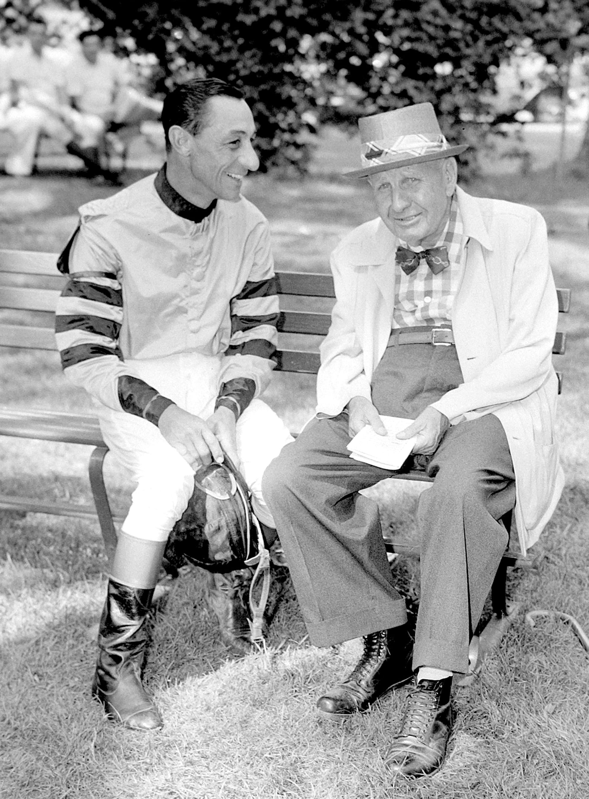 """Eddie Arcaro, left, with James """"Sunny Jim"""" Fitzsimmons (Keeneland Library Morgan Collection)"""