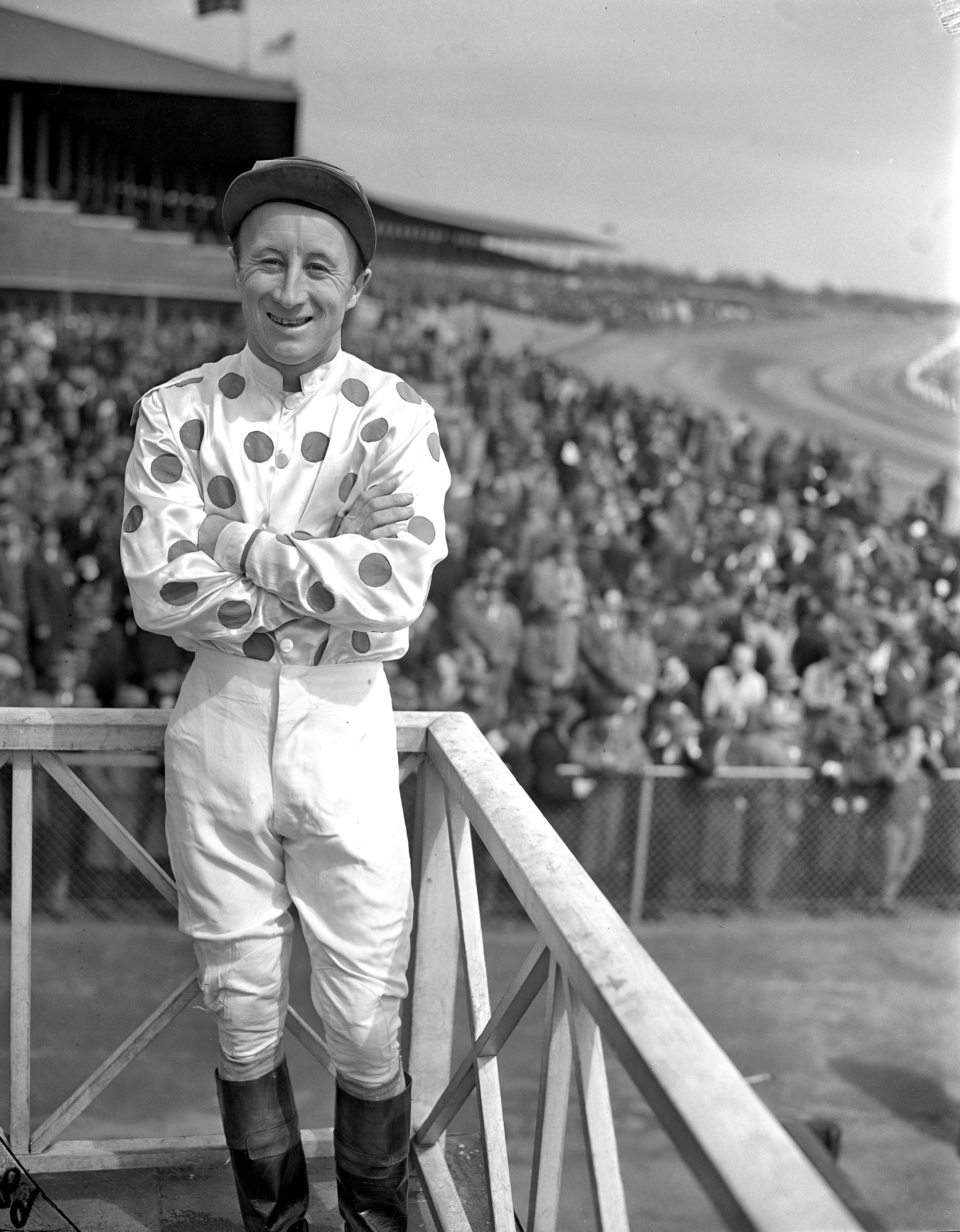 James Stout at Jamaica Racetrack, 1946 (Keeneland Library Morgan Collection)