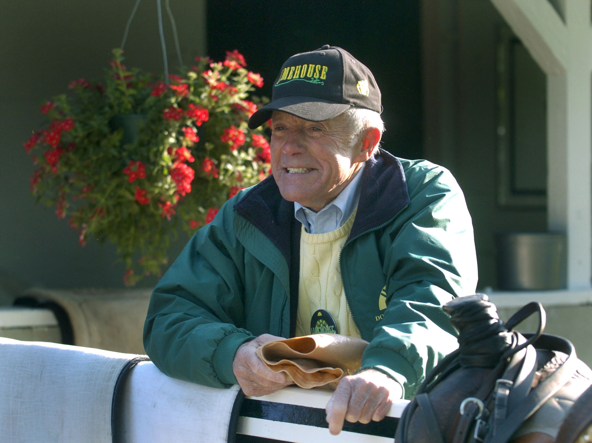Cot Campbell spending a morning on the Saratoga backstretch (Barry Bornstein)