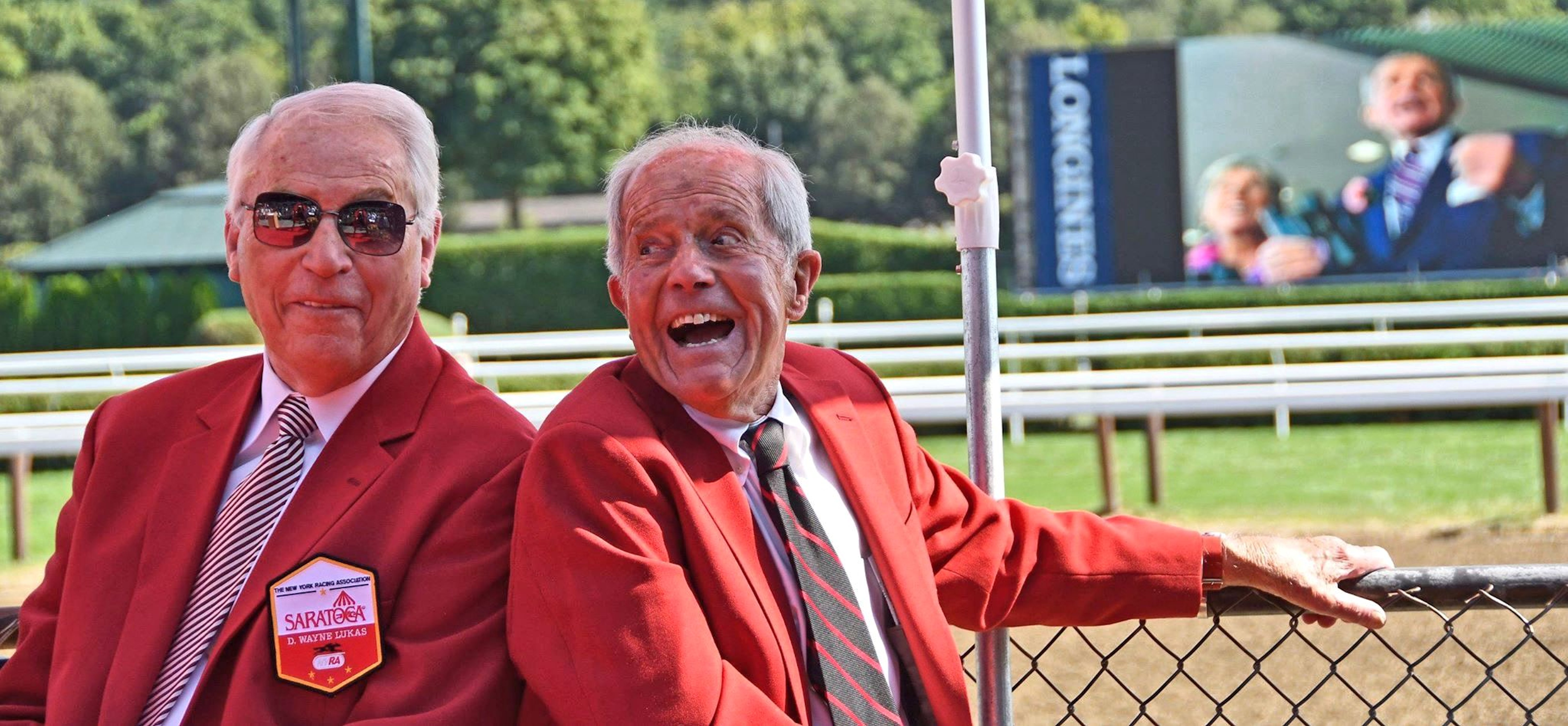 Trainer D. Wayne Lukas and Cot Campbell wear their red jackets during the 2018 Saratoga Walk of Fame ceremony (Barry Bornstein)