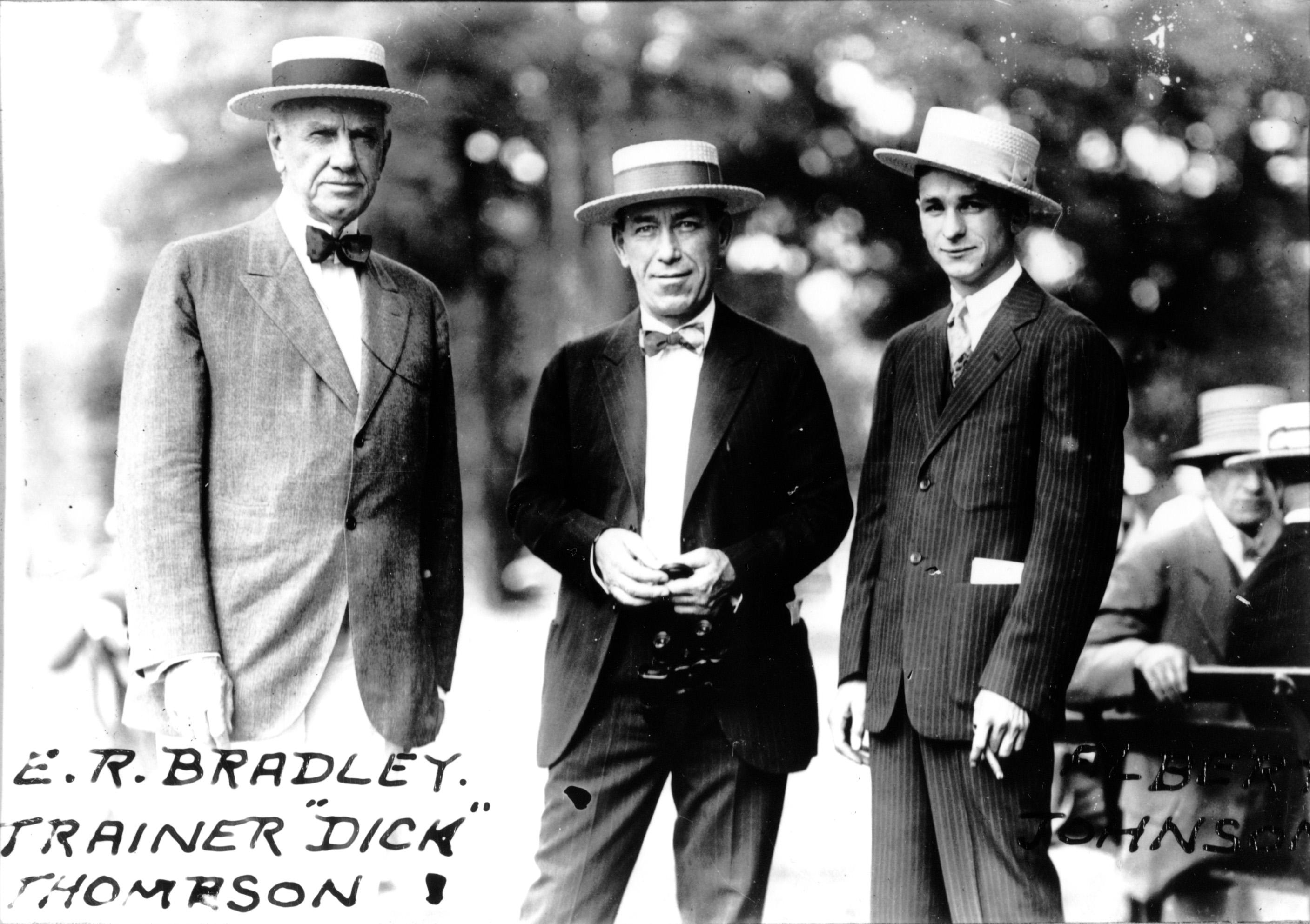 Col. E. R. Bradley, trainer Dick Thompson, and jockey Albert Johnson (C. C. Cook/Museum Collection)