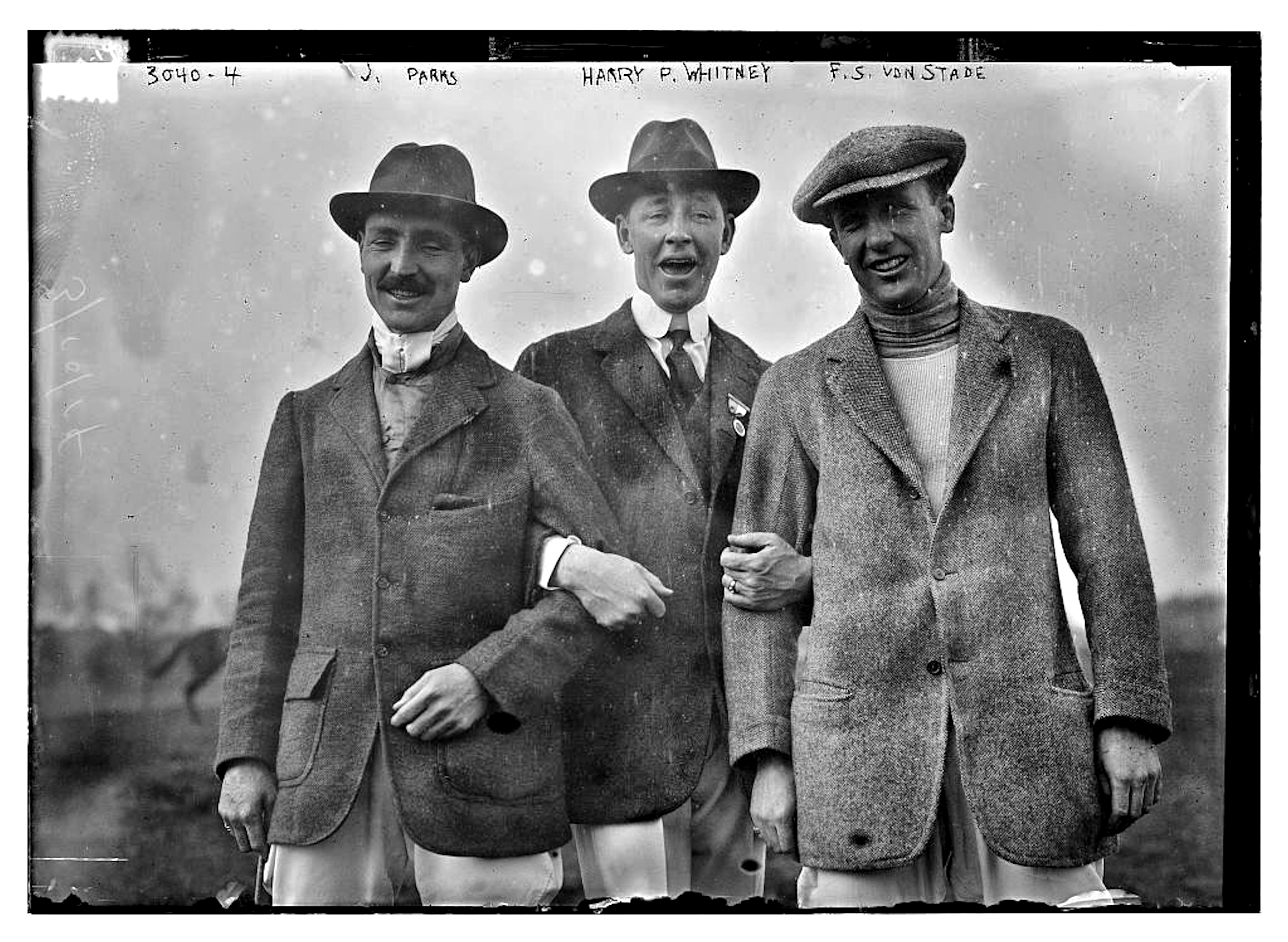"J. Parks, Harry Payne Whintey, and F. ""Skiddy"" von Stade, c. 1910 (Library of Congress, Prints & Photographs Division, [LC-DIG-ggbain-15888])"