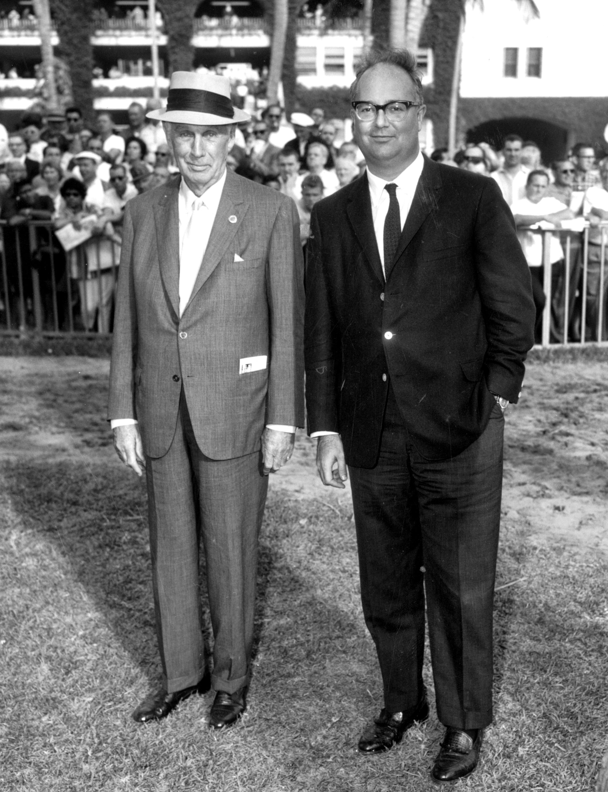 George D. Widener, Jr. and Peter A. B. Widener III in the paddock at Hialeah Park (Keeneland Library Morgan Collection)