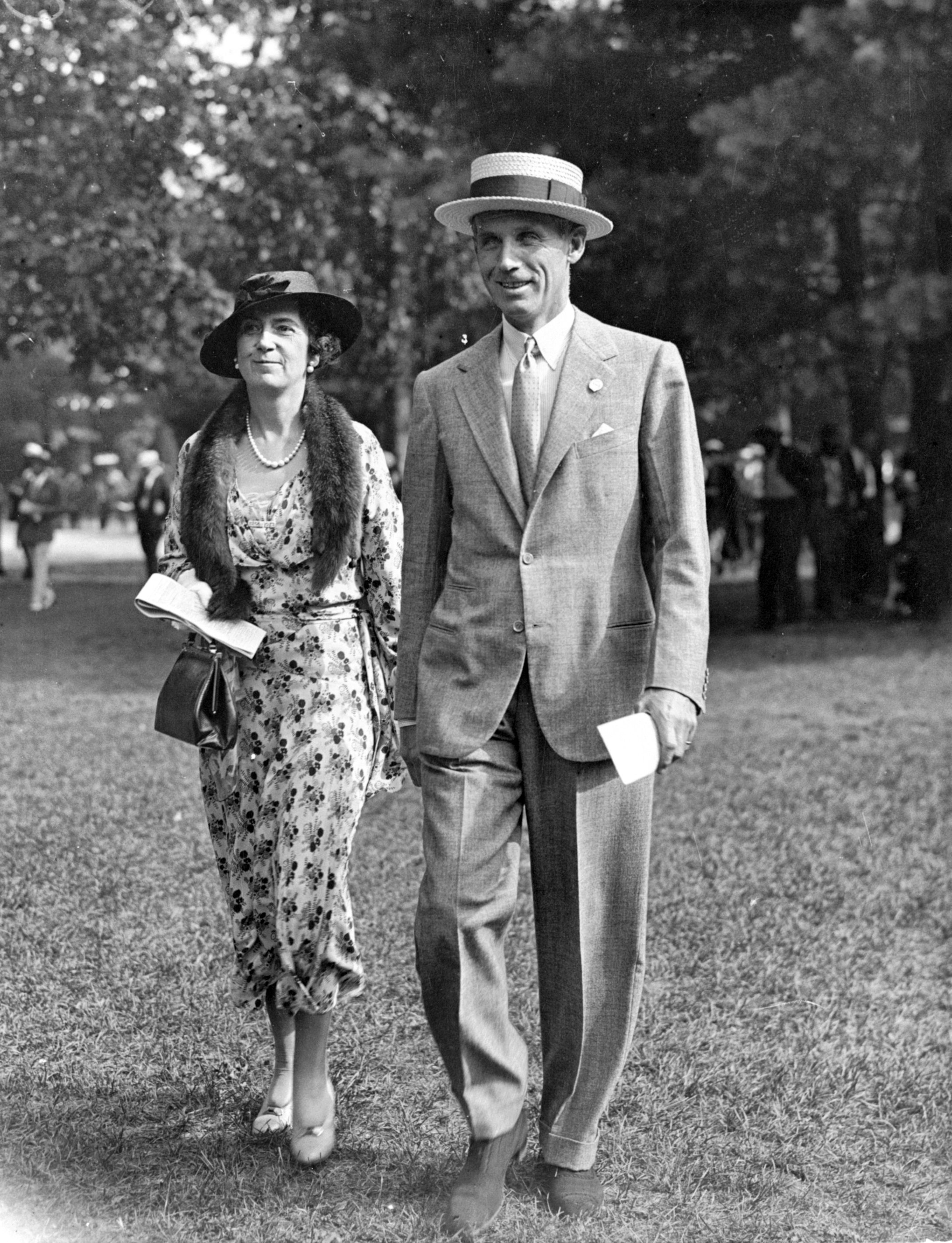 Mr. and Mrs. George D. Widener, Jr. at Belmont, 1933 (Keeneland Library Morgan Collection)