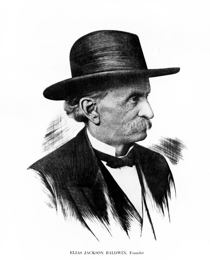 Illustrated portrait of Elias Jackson Baldwin (Bill Mochon Photograph Collection/Museum Collection)