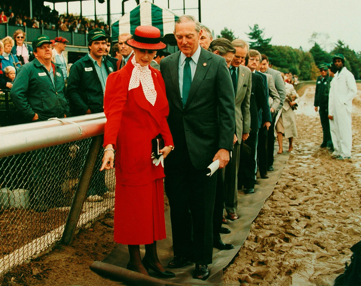 Princess Alexandra Helen Elizabeth Olga Christabel, the Honourable Lady Ogilvy, and Ted Bassett at the 1986 Queen Elizabeth II Challenge Cup (Keeneland Association)