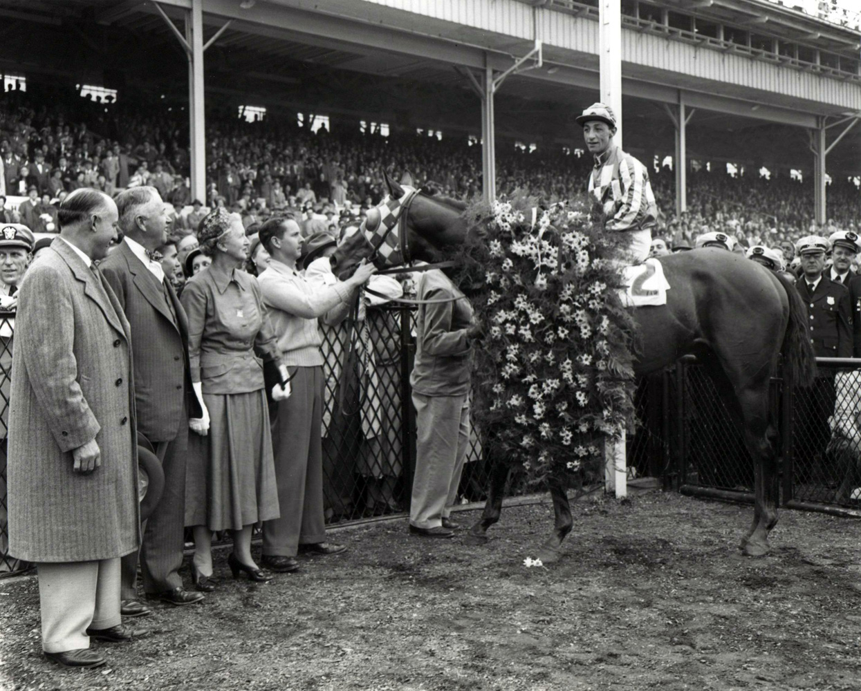 Winner's circle photograph for the 1950 Preakness Stakes at Pimlico, won by Christopher Chenery's Hill Prince(Eddie Arcaro up) (Keeneland Library Morgan Collection/Museum Collection)