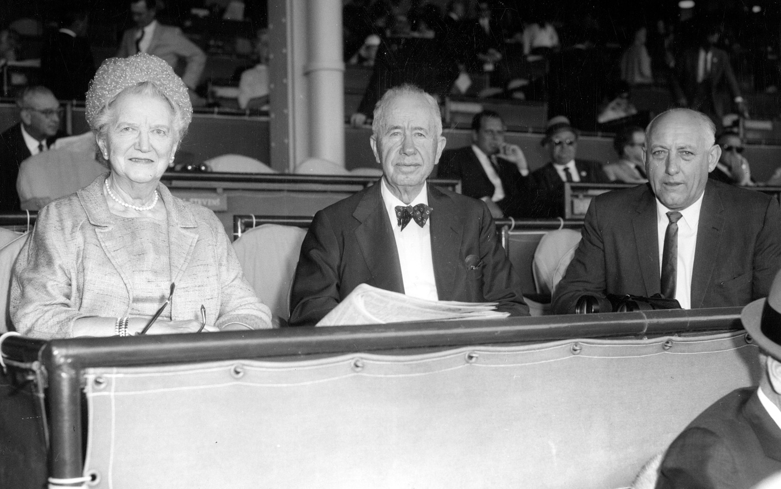 Helen and Christopher T. Chenery with Casey Hales at Hialeah Park (Keeneland Library Morgan Collection)