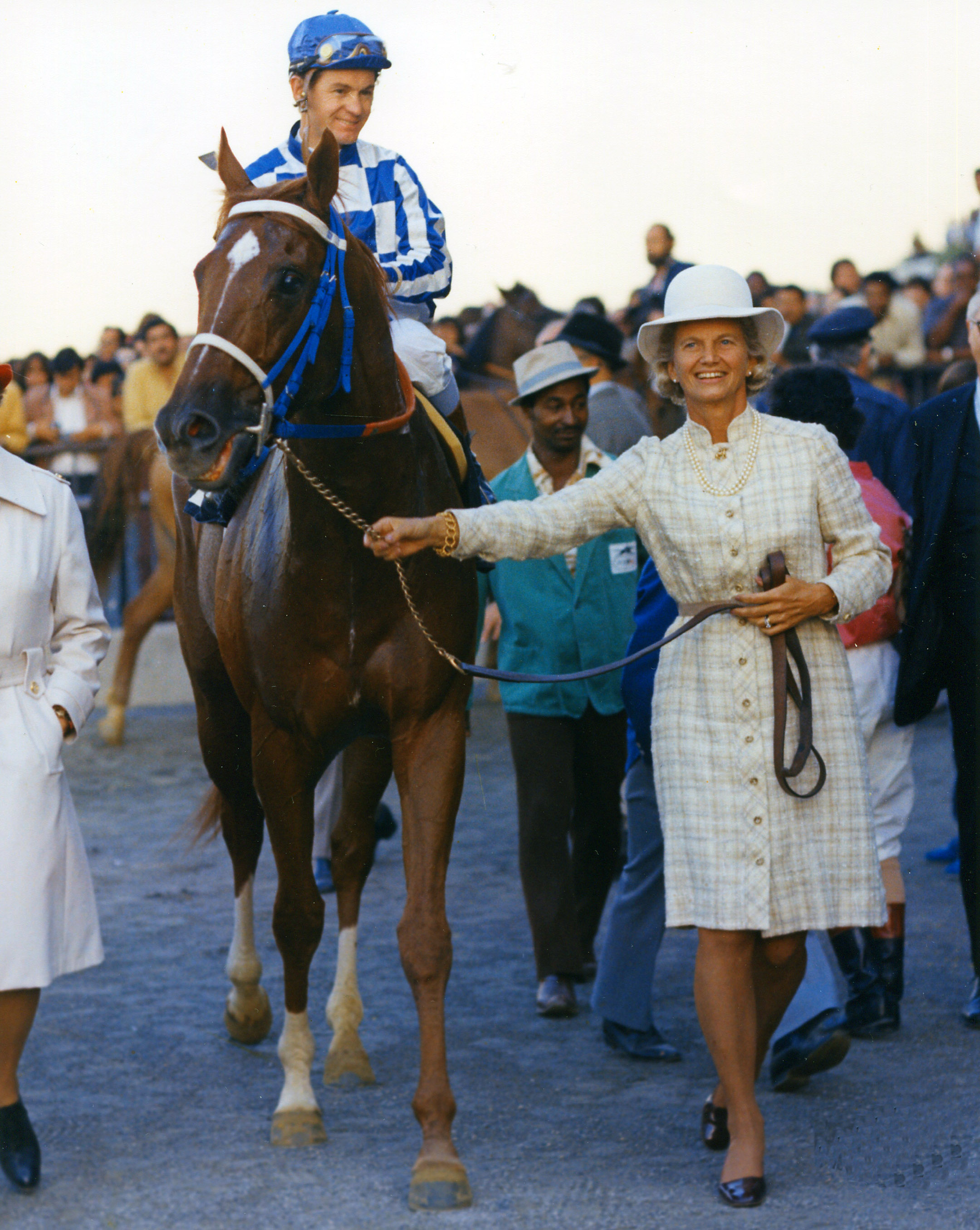Penny Chenery leads Secretariat (Turcotte up) into the winner's circle after winning the Man o' War Stakes at Aqueduct, October 1973 (NYRA/Bob Coglianese /Museum Collection)