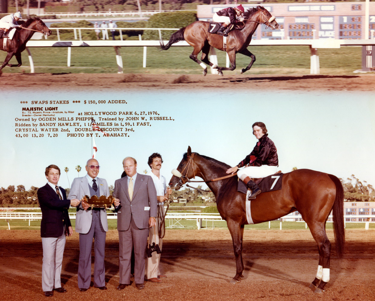 """Win composite photograph for the 1976 Swaps Stakes at Hollywood Park, won by Majestic Light (owned by Ogden Mills """"Dinny"""" Phipps) (Hollywood Park Photo/Museum Collection)"""